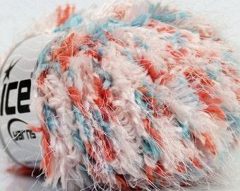 Coral Reef Fiesta - Coral Blue White Puffy Short & Long Eyelash Blend - Ice 36719 - Bulky 50 gram 54 yards