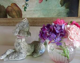 Vintage Poodle Statue, Figurine, Large, Velvet Ribbon, Rhinestone Crown, Tiara
