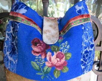 Vintage Roses Needlepoint Handbag, Velvet Chenille, Cowhide, Western, Royal Blue