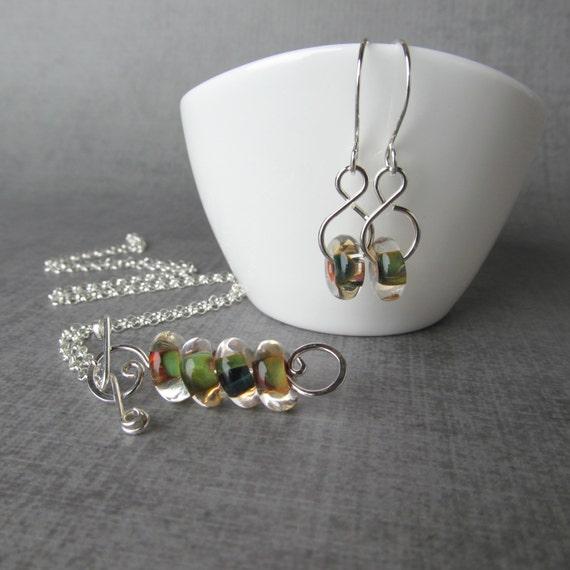 Custom Order for Heather, Lampwork Jewelry Set, Green Lampwork Necklace, Green Lampwork Earrings, Handmade Jewelry