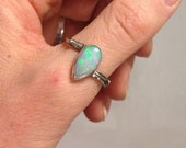 Reserved! Opal twig ring. Sterling silver ring size 9 with australian opal. One of a kind ring.