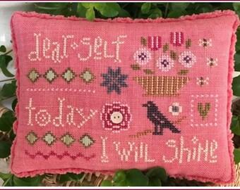 Selfie Sampler - Cross Stitch Kit by LIZZIE KATE - Sayings - Dear Self - Needleroll - Pinroll - Pin Cushion - Pincushion