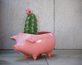 Ceramic Pig Planter Vintage Design in pink Succulent Planter Retro Sponge Holder Home Decor
