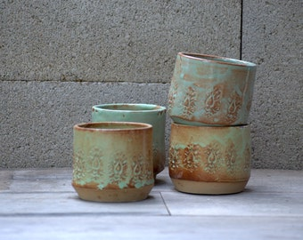 Ceramic cups, handmade unique pottery, farmhouse style tumblers, wedding gift - MADE TO ORDER