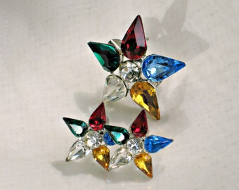 Vintage Earrings Brooch Set Rhinestone Stars 60s Costume Jewelry