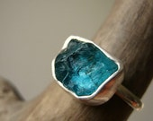 Reserved for Elena! Rough Apatite Ring - in Sterling Silver and Fine Silver