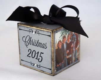 Personalized Family Christmas Ornament, Custom Family Photo Block Ornament, Christmas Ornament in Silver Shimmer