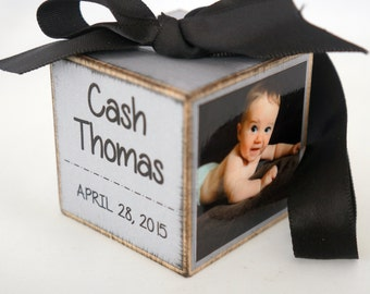 Baby's First Christmas Ornament in GREY, My First Christmas Ornament, Custom Birth Stats Photo Block Ornament