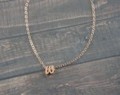 "Cursive Rose Gold Letter, Alphabet, Initial  ""w"" necklace, birthday gift, lucky charm, layered necklace"
