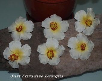 Hair Pins -Hibiscus- Set of 6 - Great Quality - White with Yellow Centre