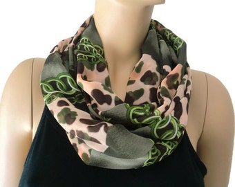 Animal print  chiffon infinity scarf Moss green, brown and Flesh pink Necklace Scarf/cowl-Instant gratification-Extra full