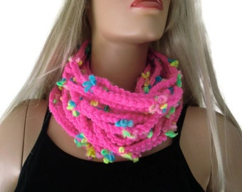 Hot pink infinity scarf cowl,Unisex  crochet cowl,  Neon pink chain scarf  best friend gift,  Bridesmaids gift ,can be made in any quantity