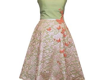 QUEENS - Dress, wedding dress, lime, apricot, green, summer dress, evening dress, wedding, lace, bridesmaid dress, prom, light green