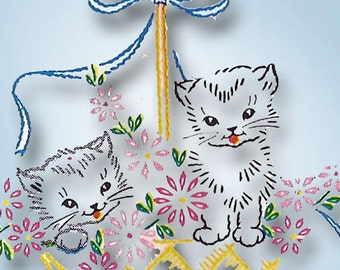 1950s Vintage Vogart Embroidery Transfer 240 Perky Pups Childrens Pillowcases