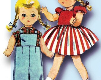 1950s Vintage Simplicity Sewing Pattern 4509 Saucy Walker 16 Inch Doll Clothes