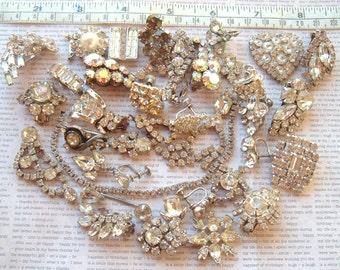 Vintage Rhinestone Jewelry Destash Lot For Repair Or Jewelry Making