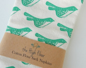 Cloth Napkins, Natural Cotton, Hand Printed Birds, Set of 4, Choose Your Color