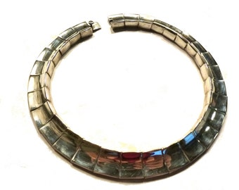 Vintage Mexican Silver Heavy Tab Necklace.  Circa 1980s. Weighs Over 170 Grams.