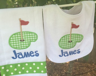 Golf bib & burpcloth set