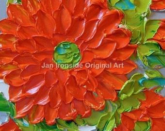 Original Art, Sale , Painting , Oil , Orange dahlia  , home decor, oil painting