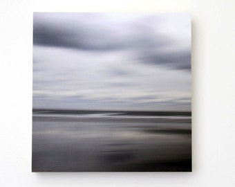Beach Abstract,  Water,Sky, Grey,Nature, Seascape, 8X8 Wood Panel, Fine Art Photography, Ready to Hang, Wall Art