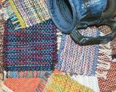 Eco Friendly Handwoven Coasters -- Odds and Ends Mug Rugs - Hand Woven Coasters