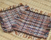 Brown and Blue Handwoven Coasters - Set of 2 Eco Friendly Mug Rugs in Brown