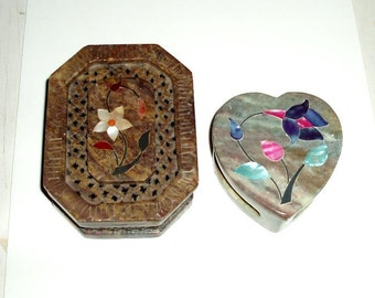 2 VINTAGE INDIA MARBLE trinket jewelry boxes,Taj Mahal influence, carved inlay,flowers,trellis,aqua,blue,brown,pink,ivory