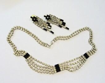 Vintage Art Deco Rhinestone Necklace and Earring Set on Etsy by APURPLEPALM