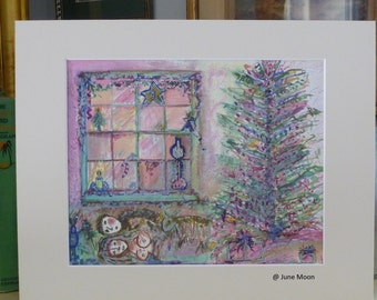 P I N K Christmas ~ a Watercolor Print signed by the Artist ~June Moon of Poppy Cottage Christmas in July