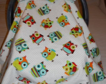 Owls Aqua Red Green Orange Cuddle Fabric and Aqua and White Polka Dot Flannel Baby Carrier Cover
