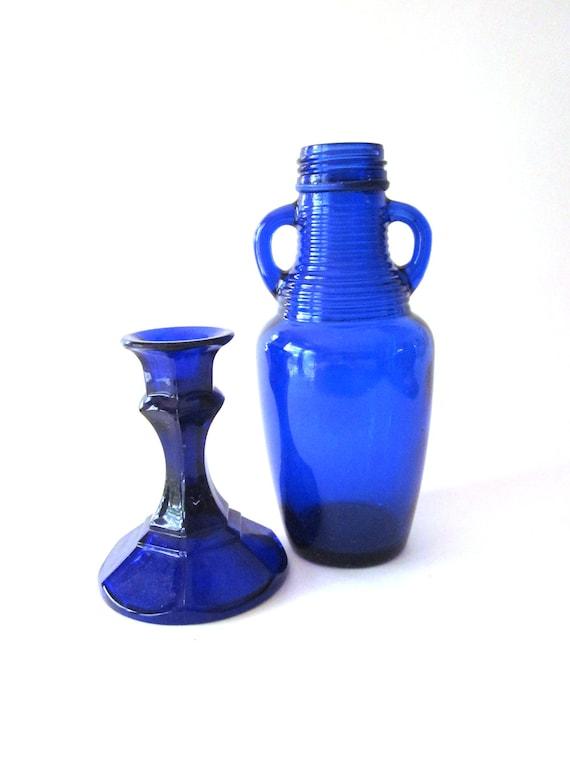Cobalt Glass Candle Holder Vintage Bottle