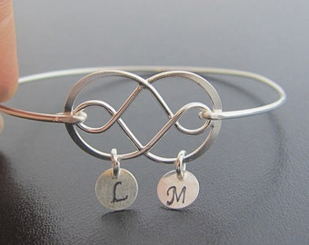 Double Infinity Bracelet, Sterling Silver, Double Infinity Jewelry, Double Infinity Bangle, Unique Gift, Wedding Present Personalized