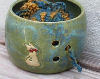 Yarn Bowl. Cat. Cats. Yarn. Wool. Knitting. Crochet. Skein. Knitting Bowl. Yarn Holder. Handmade. Ceramic. Unique. Bigdogpots. Green.