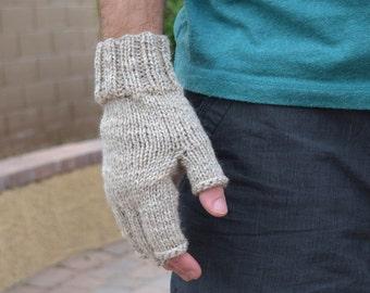 Men's fingerless gloves 100% merino wool natural Fathers Day gift Christmas
