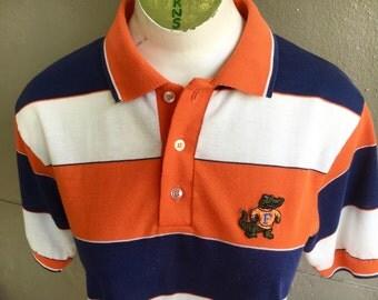 1980s Florida Gators vintage polo - blue orange and white striped shirt - size medium