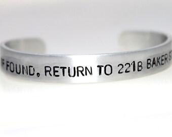 If found, Return to 221b Baker St, Sherlock Bracelet, Fan Jewelry, Geek Gift