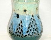 Pine Tree Luminary Moon Stars Luminary Candle Holder Solstice Christmas