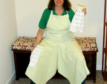 Pottery Apron with Ultimate Coverage Split Leg Panel Spring Green White Striped Towels