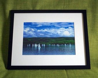 Framed photo - sailboats against a green hill in Scotland