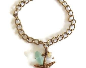 Brass Chain Beach Bracelet.  Starfish Charm Beach Bracelet. Sea Glass Pearl Starfish Bracelet