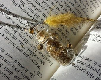 Fairy Glitter Bottle Necklace Gold w/ Yellow Feather, Crystals & Wire - .925 Silver Chain