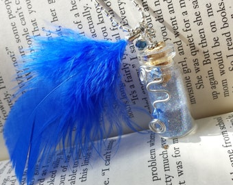 Fairy Glitter Bottle Necklace Blue w/ Blue Feather, Crystals & Wire - .925 Silver Chain