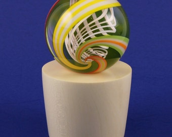 LIGHTED- Hand turned Marble Display stand--with a display light--  American Holly Wood  (( Lamp Work >> HOT GLASS   (  MS88