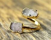 Druzy Ring, Natural Druzy, Adjustable Druzy Ring, Gold Druzy Ring, Freeform Druzy Ring, Double Druzy Ring, Druzy Jewelry, Gemstone Ring