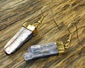 Valentine SALE - Kyanite Earrings, Kyanite Gold Earrings, Kyanite Slice Earrings, Kyanite Pendant Earrings, Kyanite Stone Earrings, 14k G...