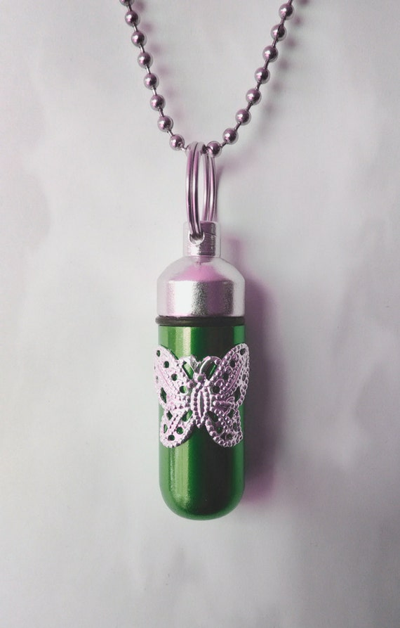Lovely Embossed Butterfly on Emerald Cremation Urn Necklace - Custom Hand Assembled.... with Velvet Pouch and Fill Kit