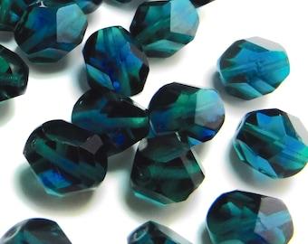 20 pcs Glass Beads Blue Green Teal 12 mm Vintage Czech B-142