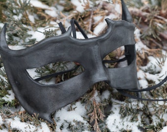 Horned Leather Mask Charcoal
