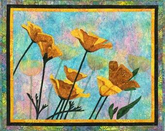 Yellow Poppies XI Original Fiber Art by Lenore Crawford